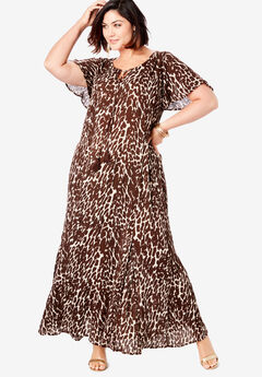 Crinkle Flare-Sleeve Maxi Dress, BROWN BEIGE ABSTRACT