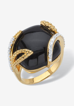 Yellow Gold-Plated Genuine Onyx and Cubic Zirconia Cabochon Ring,