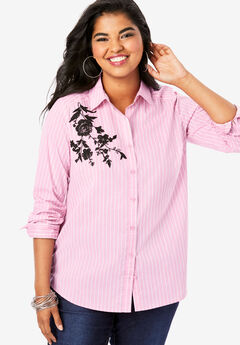 Embroidered Kate Shirt, PINK FLOWER EMBROIDERY