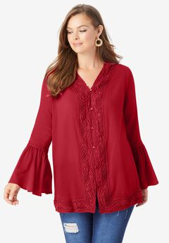 Lace-Trim Crinkle Tunic, CLASSIC RED