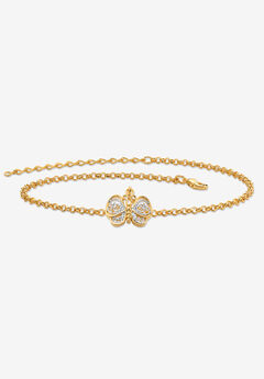 "Gold-Plated Filigree Butterfly Two-Tone 9' Ankle Bracelet 9"" Plus Extender,"