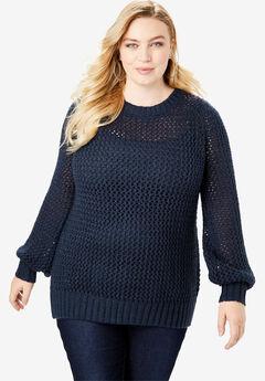 Metallic Openwork Sweater, NAVY