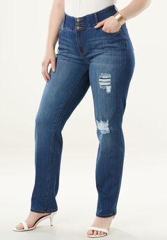 The Straight-Leg Curvy Jean by Denim 24/7®, DISTRESSED