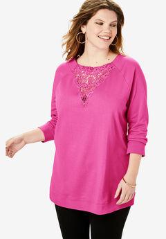 Lace Sweatshirt, TROPICAL RASPBERRY