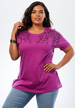 Embellished Tunic with Side Slits, RICH MAGENTA