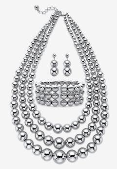 Silver Tone Necklace Set,