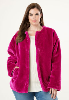 Faux-Fur Jacket, CRYSTAL BERRY