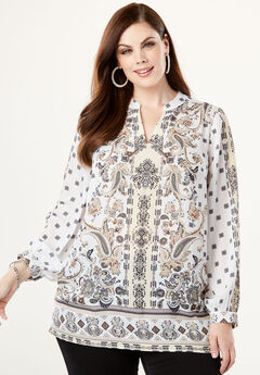 Banded-Collar Tunic with Split Neck, NATURAL PAISLEY