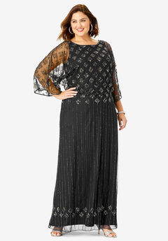 Beaded Sheath Dress, BLACK