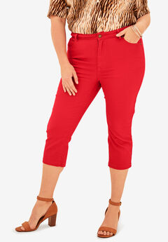 Denim Capri with Invisible Stretch® by Denim 24/7®, HOT RED