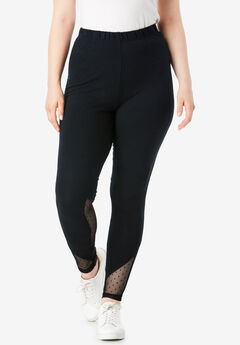 Essential Stretch Legging with Mesh Inset, BLACK