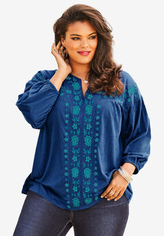 Embroidered Blouson Top, EVENING BLUE