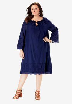 Embroidered Hem Dress with A-Line Silhouette,