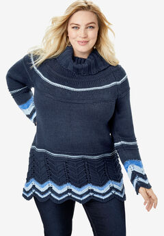 Chevron Border Sweater, NAVY COMBO