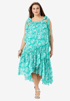 High-Low Tiered Maxi Dress, EMERALD GRAPHIC LEAVES
