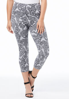 Essential Stretch Capri Legging, HEATHER FANCY PAISLEY