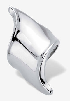 Platinum-Plated Free Form Diagonal Ring,