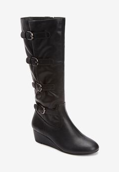 The Frankie Wide Calf Boot , BLACK