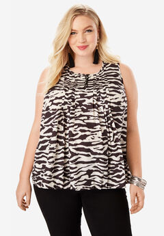 Pleat Camisole, BLACK IVORY ZEBRA
