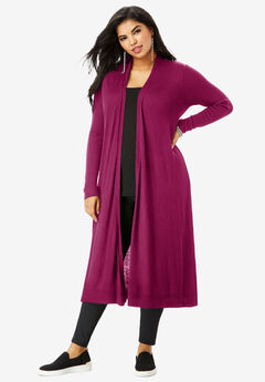 Fine Gauge Duster Cardigan With Shawl Collar, BERRY TWIST
