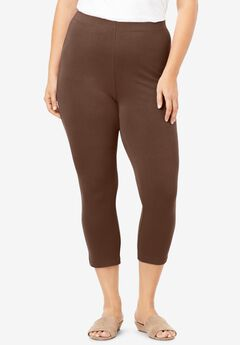 Essential Stretch Capri Legging, RICH BROWN
