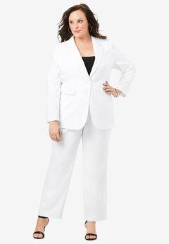 Straight-Leg Pantsuit with Blazer, WHITE