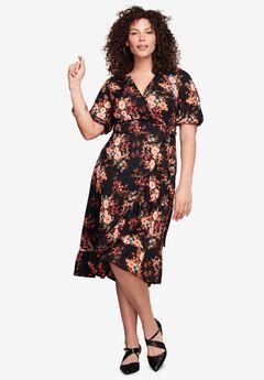 Ruffle-Trim Wrap Dress,