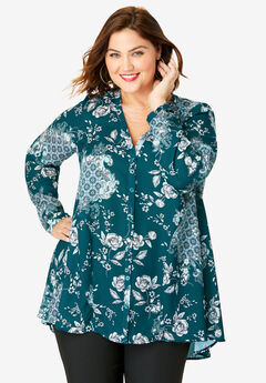 Y-Neck Swing Tunic, HUNTER TAPESTRY FLORAL