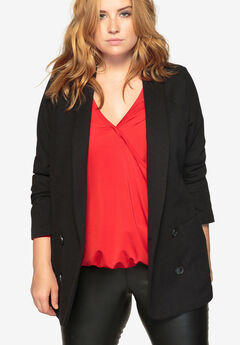 Shawl-Collar Double-Breasted Blazer by Castaluna, BLACK