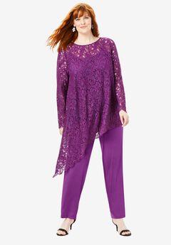 Lace Asymmetric Tunic & Pant Set,