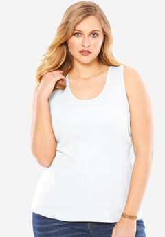 Scoop Neck Rib Tank, WHITE