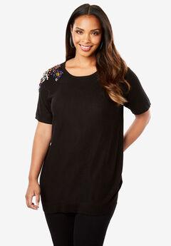 Floral Embellished Short Sleeve Sweater, BLACK
