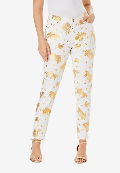 Foil Print Jean with Invisible Stretch® by Denim 24/7®, GOLD BEGONIA FLORAL