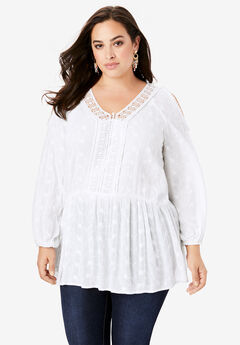 Cold-Shoulder Embroidered Blouse,