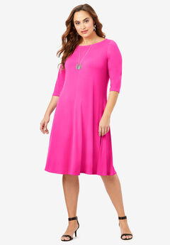 Ultra Smooth Boatneck Swing Dress, VIVID PINK