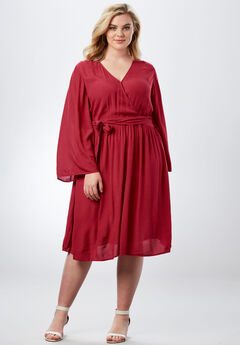 Bell-Sleeve Wrap Dress in Crinkle, CRIMSON