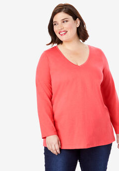 Long-Sleeve V-Neck Ultimate Tee, SOFT GERANIUM