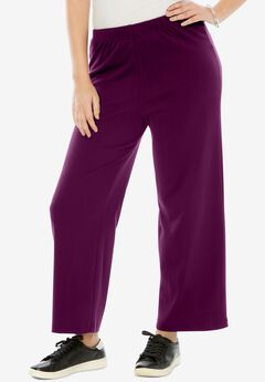 Wide-Leg Soft Knit Pant, DARK BERRY