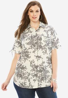 Gingham Shirt with Sleeve Ties, IVORY BLACK PAISLEY PRINT
