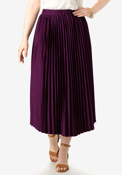 Pleated Midi Skirt, DARK BERRY