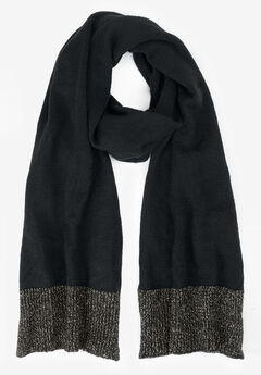 Glittery Knit Scarf, BLACK