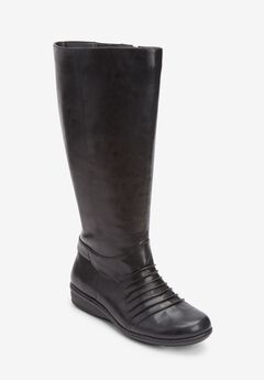 The Finley Wide Calf Boot , BLACK