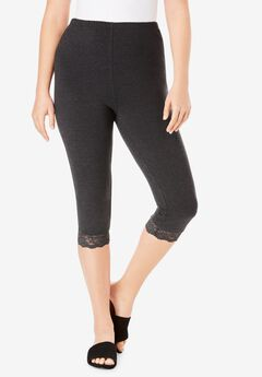 Lace-Trim Essential Stretch Capri Legging, HEATHER CHARCOAL
