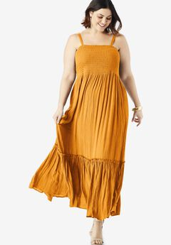 Two-In-One Maxi Dress in Crinkle, BRIGHT MELON