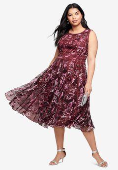 Mesh Dress, BERRY PAINTED GARDEN
