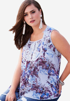 Sleeveless Chiffon Top, BLUEBERRY CREAM PRINT