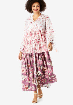 Drawstring-Sleeve Maxi Dress with Tiered Skirt, IVORY MULTI FLORAL
