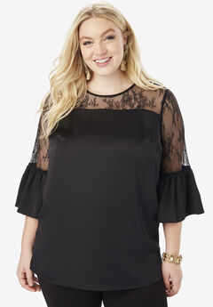 Lace Illusion Blouse with Bell Sleeves, BLACK