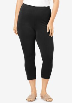Essential Stretch Capri Legging, BLACK