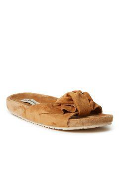 Megan Microsuede Bow Molded Footbed Slide by Dearfoams,
